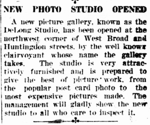 DeLong studio opens 1918