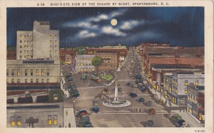 Asheville Post Card Co. Spartanturg SC linen c1945