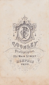 Back mark of a J. F. Coonley Memphis carte-de-visite; collection of E. Lee Eltzroth