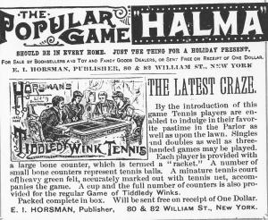 Parlor Game 1891 tennis