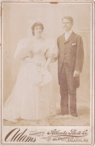 Adams, Atlanta Photo Co., cab wedding couple 1895