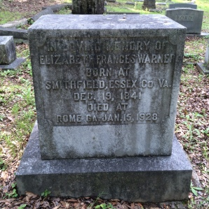 Elizabeth Frances Warner, headstone, Myrtle Hill Cemetery, Rome GA; photo by Traci Rylands 2014