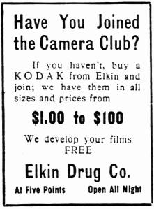Elkin's ad ran April 20 into June 1913 in the Atlanta Constituion.