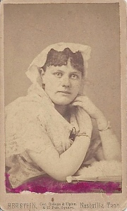 Augusta Reeves prior to her marriage, tinted carte de visite by Herstein, Nashville, TN, ca. 1884; courtesy of Ruth Reeves Dill