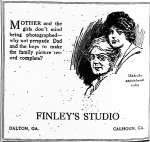 Advertisement for Finley's Studio; North Georgia Citizen [Dalton GA] 10 July 1919 p.2