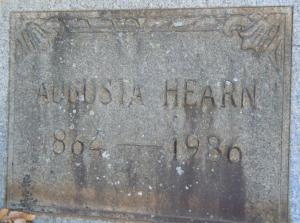 Grave marker for Augusta Reeves Hearn; Memorial no. 77703031 via www.findagrave.com