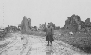 Aerial photographer C. WaltonReeves at the ruins of Flirey, France, about Dec. 1918; Owen Williams collection, Courtesy Charles Thomas