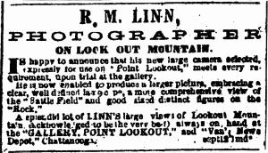 This advertisement placed by R. M. Linn in the Augusta [GA] Chronicle, ran Sept. 12 - ??, 1865