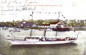 Yacht Club House, near Savannah, Ga., postmarked 1908; postcard published by F. M. Kirby & Co.; id number hpc1647, Historic Postcard collection, Georgia Archives