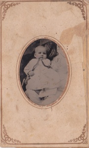 Tintype of an unidentified baby, 1870; from an Atlanta, GA album; collection of E. Lee Eltzroth