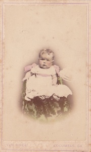 Hand-tinted carte-de-visite of May L. Hanserd (?), Aug. 24, 1867, by Van Riper, Columbus, GA; collection of E. Lee Eltzroth