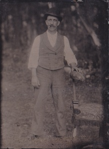 Tintype portrait of an unidentified man, made by an unidentified itinerant photographer, ca.1890