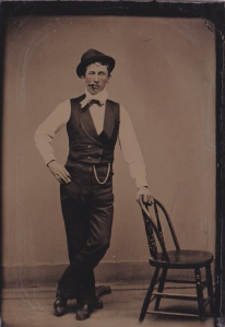 Tintype, studio portrait of an unidentified man, made by an unidentified photographer ca. 1890