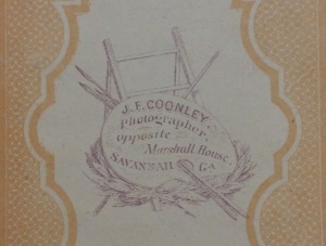 Reverse of carte-de-visite made by J. F. Coonley using his Savannah back mark, c1868-69; collection of