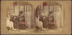 Stereograph, Angel and devil try to influence a friar, Philadelphia : From James Cremer's Stereoscopic Emporium, ca. 1900; Harper Stereograph Collection, Boston Public Library, Print Department