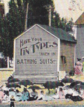 A. C. Bosselman & Co., NY, 1908 postal, detail Lake Michigan tintype booth