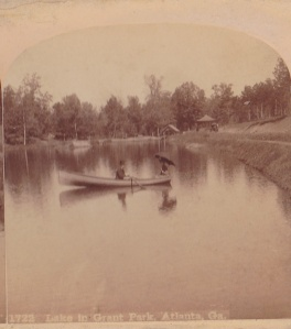 Lake in Grant Park, Atlanta, Ga., detail of stereo view by Roberts & Fellows, ca. 1885