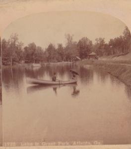 Lake in Grant Park, Atlanta, Ga., detail of stereo view by Roberts & Fellows, ca. 1885