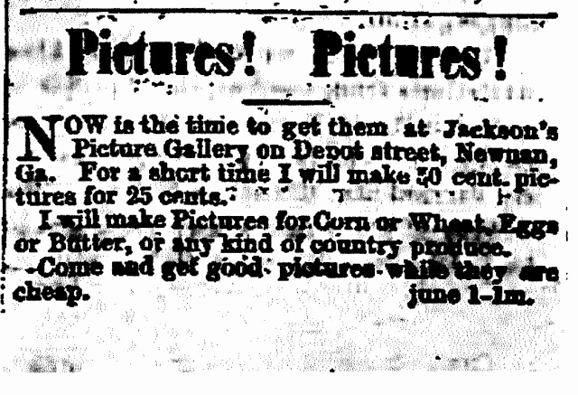 Jackson's Picture Gallery Newnan adv.15June1876