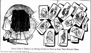 "Cartoon by Henderson, with article ""College Boys Pose; Motes Touches the Button and the Deed is Done; Emory's '97 Class in Town"" Atlanta Constitution April 4, 1897 p.17 c.3"