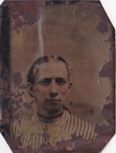 Martha Rebecca Foy Griner, ca.1870 tintype by J.U.P. Burnham; collection of E. Lee Eltzroth