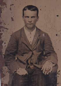This unidentified young man is a Foy brother, likely James Stewart Foy (b. 1836); ferrotype by an unidentified photographer, ca. 1870; collection of E. Lee Eltzroth