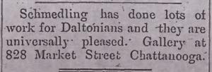 Advertisement of M.E. Schmedling in the (Dalton, GA) North Georgia Citizen, June 20, 1895 p.2 c.3