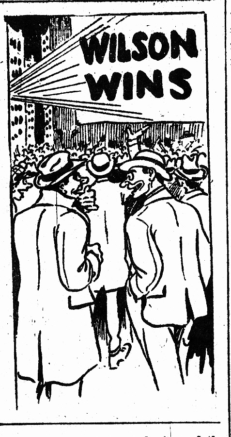 "Illustration, probably by Henderson, for article [Atlanta] ""Constitution will Flash Returns at Five Points; Room for 20,000 ..."" (Nov. 3, 1912 p. 1B)"