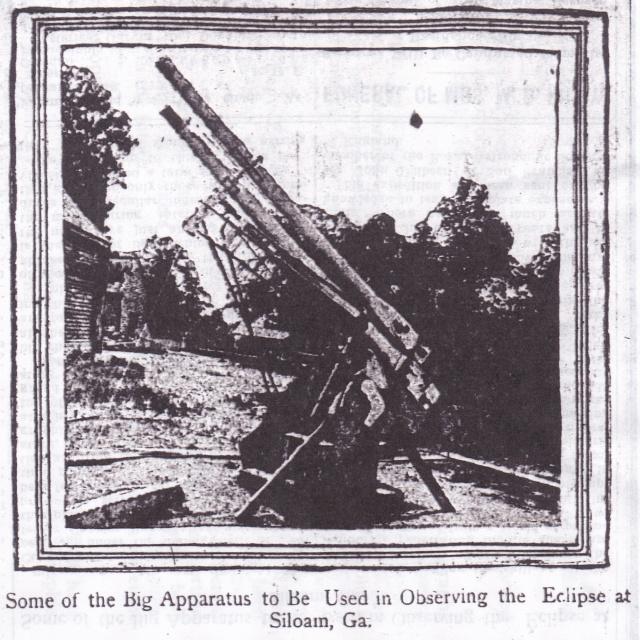 Eclipse, apparatus, Siloam GA, 1900, Burkhalter