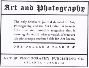 Art and Phoography magazine adv. 1904